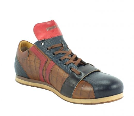 Kamo-Gutsu Herren Sneaker Tifo 030 Blu Cognac Rosso